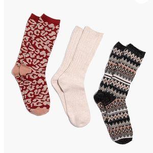 NEW Madewell Three-Pack Metallic Mix Trouser Socks